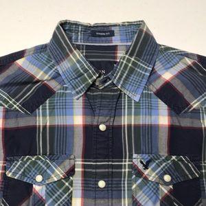 AMERICAN EAGLE Blue Western Style Plaid Shirt